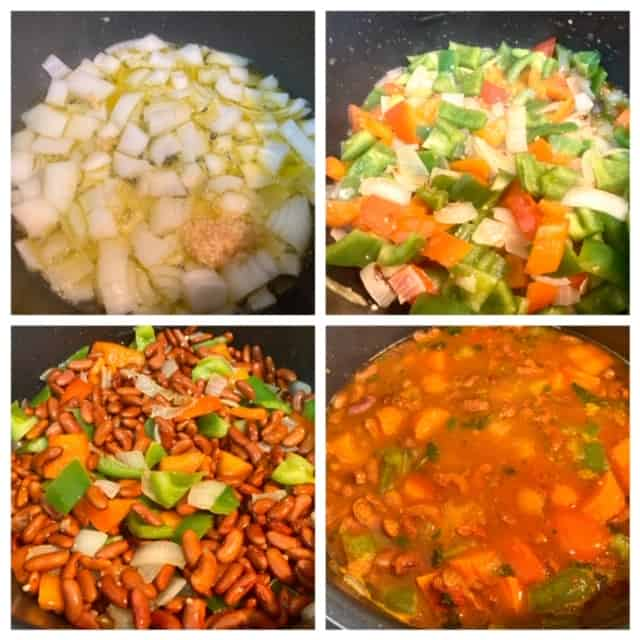 Step by step process pictures: 1. Shows onions and garlic being sauteed. 2. Peppers have been added. 3. Add the beans and keep sauteing. 4. Final step shows the beans, vegetables in a tomato base soup, ready to cook. Then I closed the IP lid.