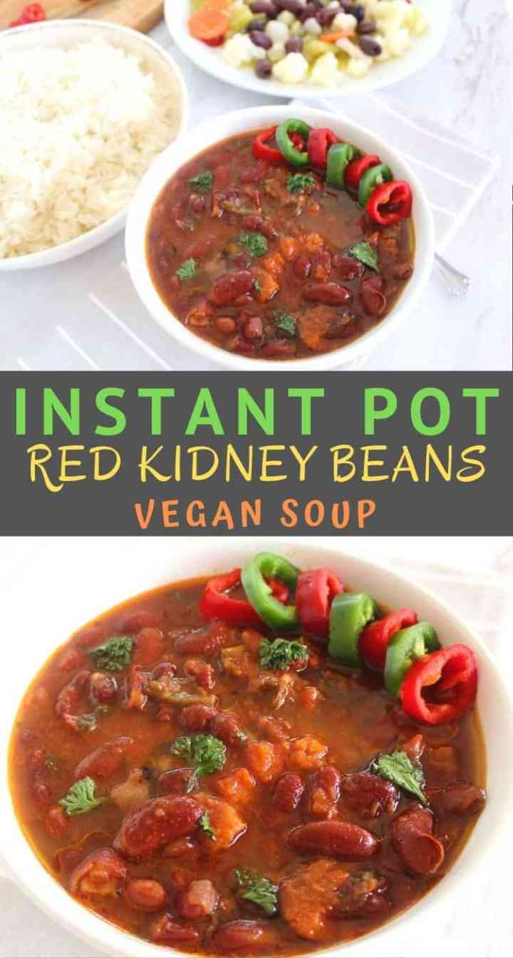 Instant Pot red kidney beans soup. It's a vegan soup, served with rice and pickled vegetables.