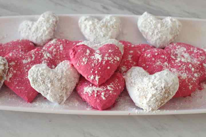 Valentine's Day Mediterranean Almond Cookies in Pink and White Powder Sugar