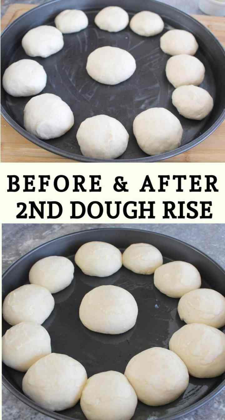 Dough rolls before and after 2nd dough rise