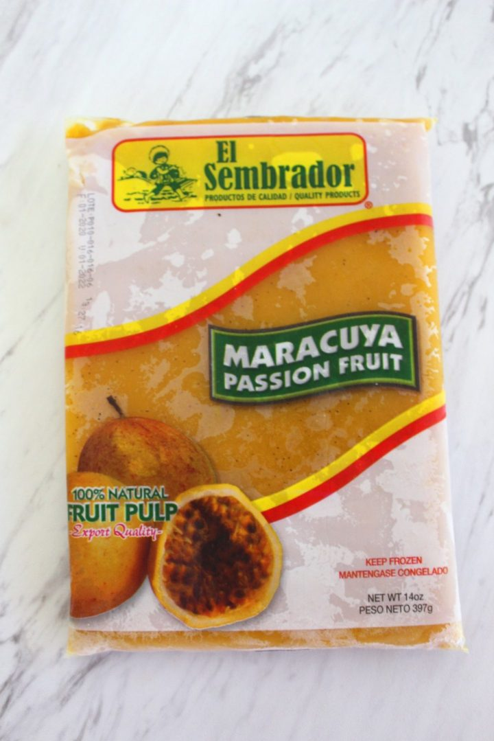 A frozen bag of fruit pulp, it says Maracuya & Passion Fruit.