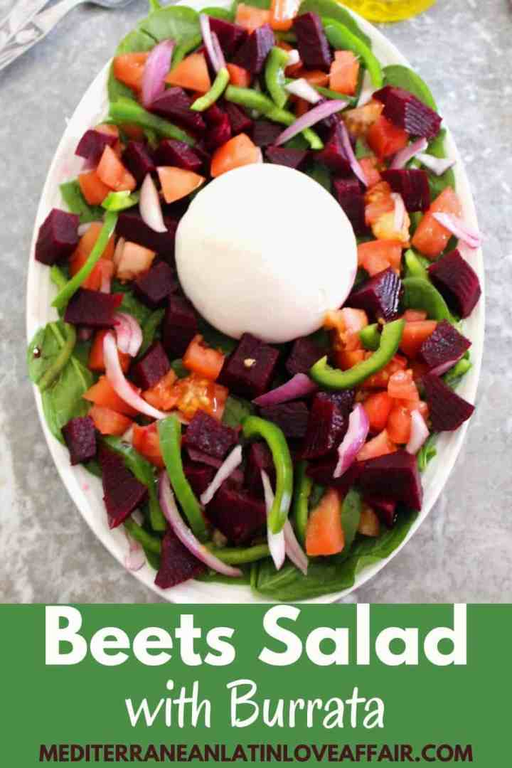 Beets Salad with Burrata on a platter. Image is accompanied by a large title banner.