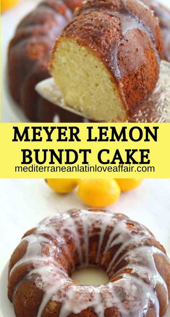 "An image prepared for Pinterest as a collage of 2 pictures with a title written in between pictures. The title reads ""Meyer Lemon Bundt Cake' and both pictures show the cake, one as it's being sliced up and the other whole cake."