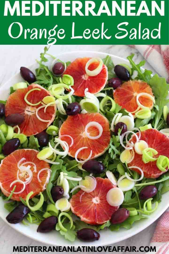 A Pinterest image with the orange salad picture, a title bar and the website link listed in the bottom.