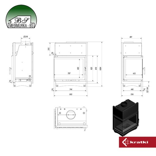 AMELIA/PW/BL/24/BS/W kaminski umetak za centralno grijanje tlocrt