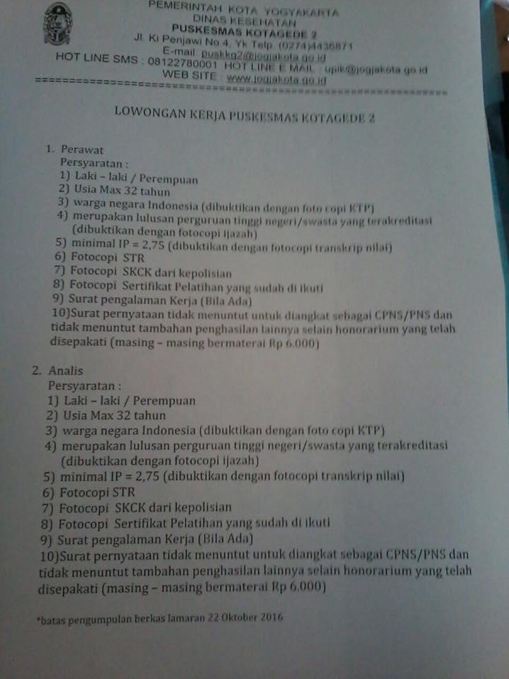 Lowongan Kerja Puskesmas Kotagede 2 Yogyakarta