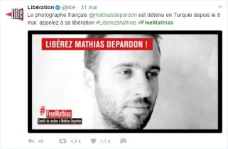 """""""Libé"""" appelle à la libération de Mathias Depardon (Capture d'écran compte Twitter @libe)"""