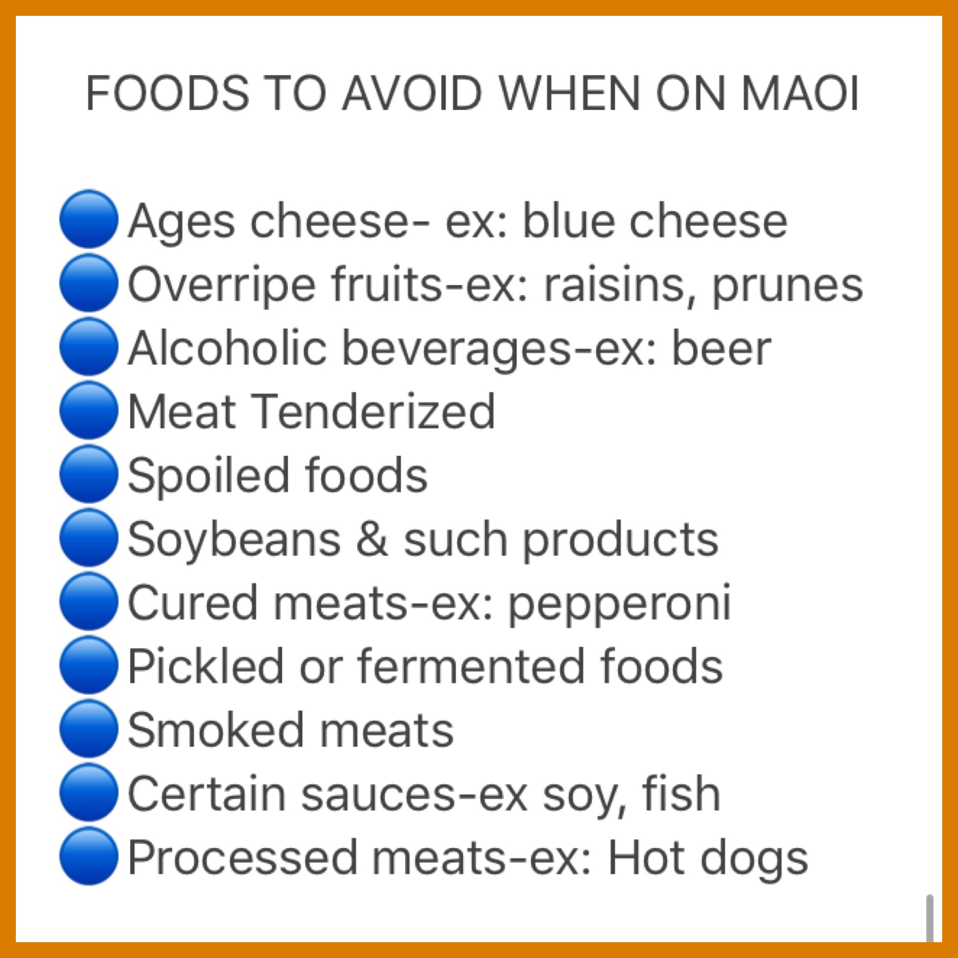 Maoi List Of Foods To Avoid