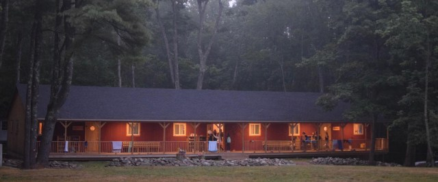 cabins at camp medolark on a early morning.