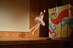 Ballerina leaping into the air