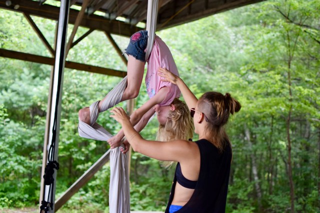 camper learning to flip in circus arts
