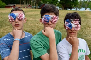 campers wear fourth of July glasses