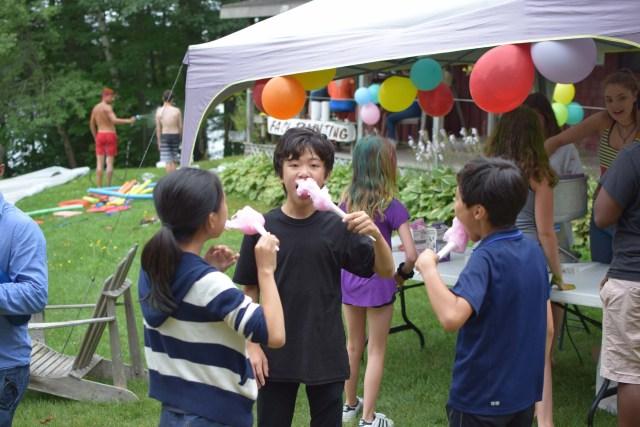 eating cotton candy at the medolark fair
