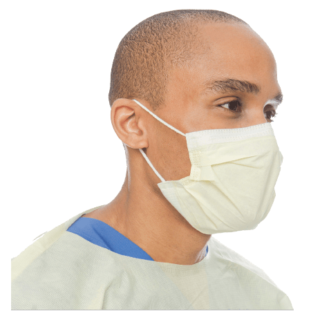 Halyard Health 3 Layer Procedure Mask - 50 Yellow Masks in a Box With Soft Earloops at Medorna
