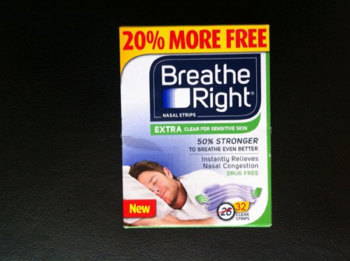 160-Strips-Breathe-Right-Nasal-Strips-EXTRA-CLEAR-For-SENSITIVE-SKIN-32-Count-5-Pack-0