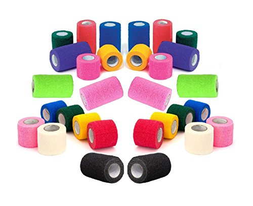 4-Vet-Tape-Rap-Bulk-Self-Adherent-Wrap-Tape-Self-Adhering-Stick-Bandage-Self-Grip-Roll-Black-Blue-Brown-Fuchsia-Hunter-Green-Neon-Green-Neon-Pink-Purple-Red-Teal-White-or-Assorted-Colors-4-inches-Wide-0
