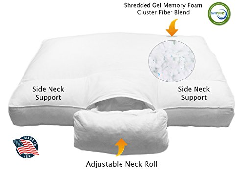Adjustable-Neck-Support-ANS-Cervical-Bed-Pillow-Unique-Shredded-Gel-Memory-Foam-Cluster-Fiber-Blend-with-COOL-MAX-pillow-USA-made-0