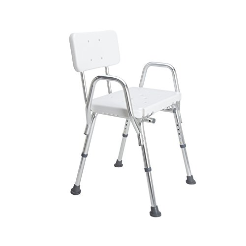DMI-Heavy-Duty-Bath-and-Shower-Chair-with-Arms-Adjustable-Legs-Removable-Backrest-and-No-Tool-Assembly-White-0-1
