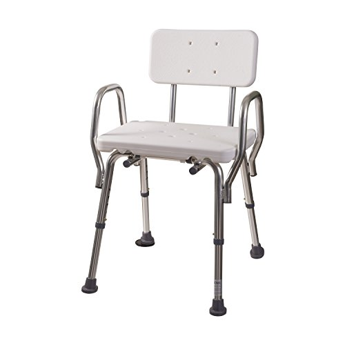 DMI-Heavy-Duty-Bath-and-Shower-Chair-with-Arms-Adjustable-Legs-Removable-Backrest-and-No-Tool-Assembly-White-0