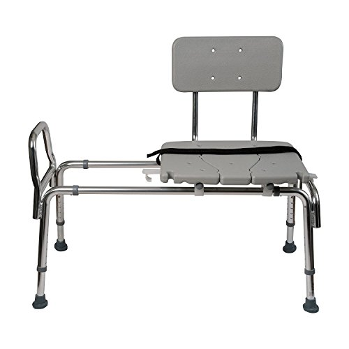 Duro-Med-Heavy-Duty-Sliding-Transfer-Bench-Shower-Chair-with-Cut-out-Seat-and-Adjustable-Legs-Gray-0