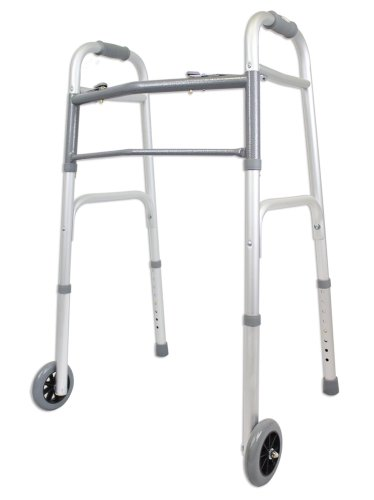 Ez2care-Deluxe-Two-Button-Folding-Walker-with-5-Inch-Wheels-Anodized-Silver-0