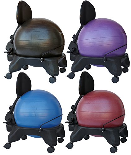 Isokinetics-Inc-Brand-Adjustable-Back-Exercise-Ball-Chair-Choice-of-Ball-Colors-Exclusive-Office-size-60mm25-wheels-versus-50mm2-wheels-used-on-other-brands-wExercise-Ball-Measuring-Tape-Starter-Pump-0