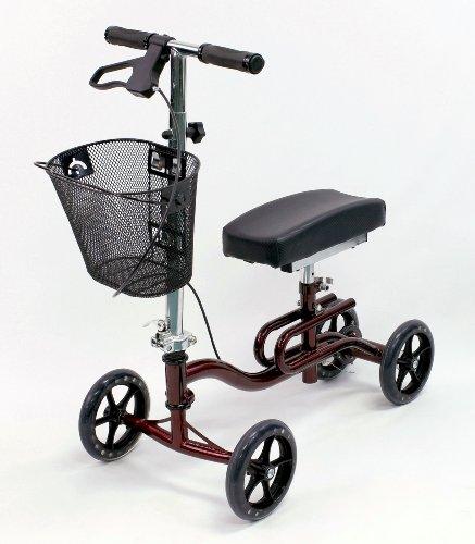 Karman-Luxury-Lightweight-4-Wheeled-Knee-Walker-with-Basket-in-Burgundy-0