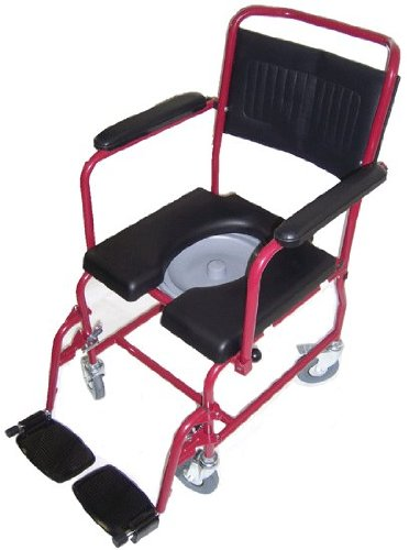 MedMobile-2-in-1-Commode-Shower-Wheelchair-with-Drop-down-Armrests-Locking-Rear-Castors-Detachable-Footrests-and-PU-Commode-Seat-0