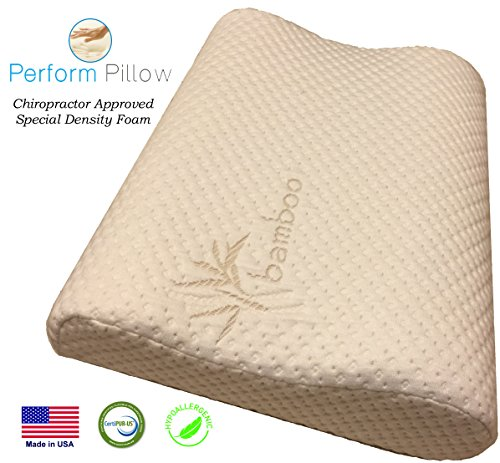 Memory-Foam-Neck-Pillow-Double-Contour-Chiropractor-Approved-Washable-Soft-Bamboo-Cover-Great-for-Neck-Pain-Sleeping-Travel-Money-Back-Guarantee-0