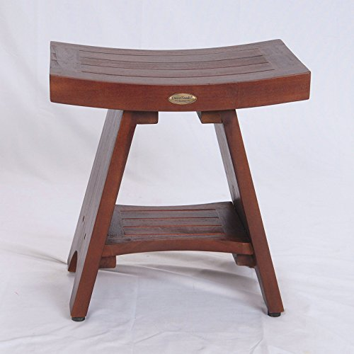 Patent-PendingFULLY-ASSEMBLED-Serenity-Asia-Style-Teak-Serenity-Shower-Bench-Stool-with-Storage-Shelf-for-Shampoo-Toiletries-Bathroom-spa-bath-0