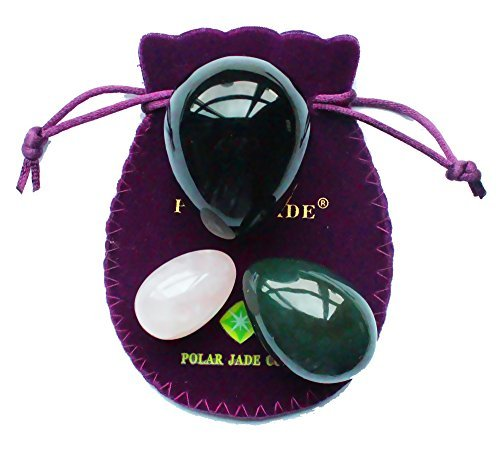 Yoni-Eggs-3-pcs-Set-with-3-Sizes-and-3-Gemstones-Drilled-with-Unwaxed-Thread-Instructions-Made-of-Nephrite-Jade-Rose-Quartz-and-Obsidian-for-Yoni-PC-Muscles-Massage-or-Display-Art-Polar-Jade-0