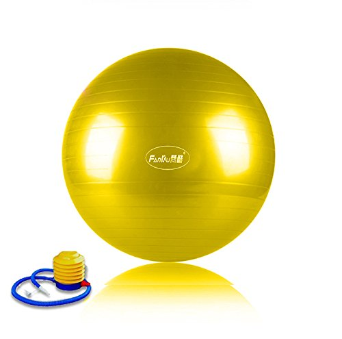Zebratown-75cm-Yellow-Balance-From-Anti-Burst-and-Slip-Resistant-Fitness-Ball-with-Pump-0