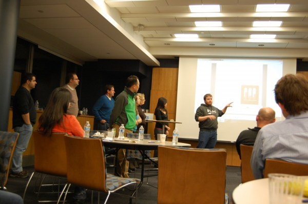 One of the hackathon teams presents their practice pitch to the mentors. Photo credit: Ajay Major.
