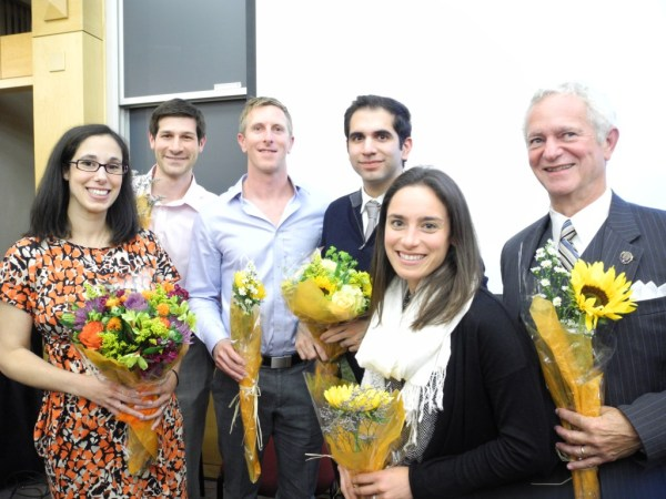 2014 Primary Care Challenge finalists from left to right: Gina Luciano, Cole Zanetti, John Moore, Ajay Kohli, Rebecca Glassman, and Howard Haft. Photo by Jenni Whalen.