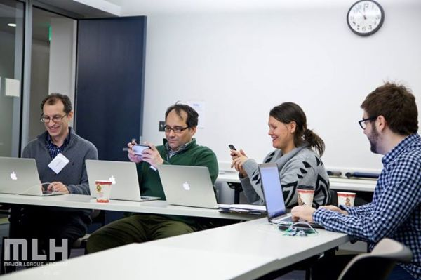 Team SimRV works together at the Tufts MedStart hackathon. Photo  via MedStart.