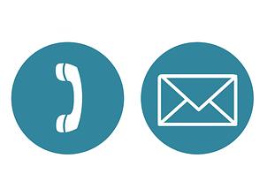 Ein Telefon und Email Symbol.