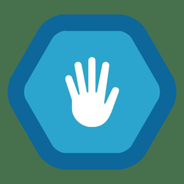 "Image du Badge ""Hand (1477)"" fourni par The Noun Project sous Creative Commons CC0 - No Rights Reserved"