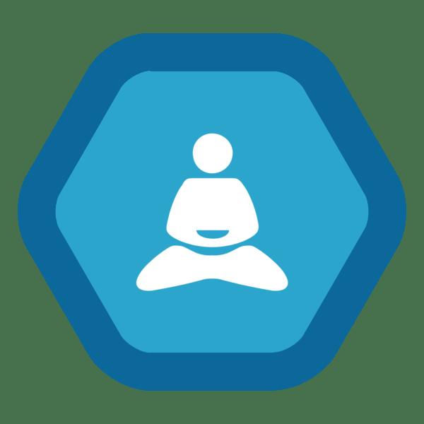 "Image du Badge ""Yoga (1632)"" fourni par The Noun Project sous Creative Commons CC0 - No Rights Reserved"