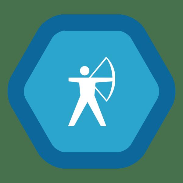 """Image du Badge """"Archery (386)"""" fourni par The Noun Project sous The symbol is published under a Public Domain Mark"""