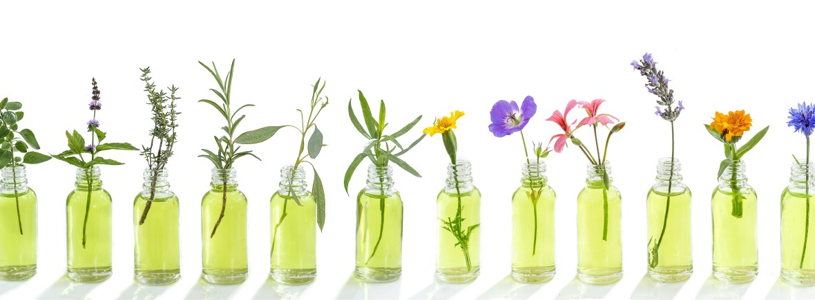 Picture shows aromatherapy as glass vials with essential oils and plants in