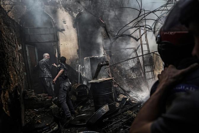 Последствия бомбардировки на окраинах Дамаска. Бомбардировку провели силы, поддерживающие режим Башара Асада, 11 сентября Фото: Mohammed Badra / EPA / LETA