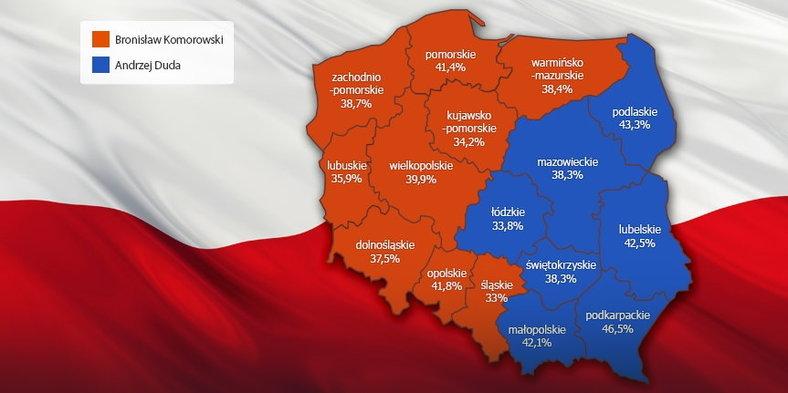Mapa rozdelenia preferencií voličov v Poľsku po prvom kole prezidentských volieb