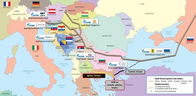 Trasovanie Balkan stream (Balkánskeho prúdu)v porovnaní s pôvodnou schémou South stream