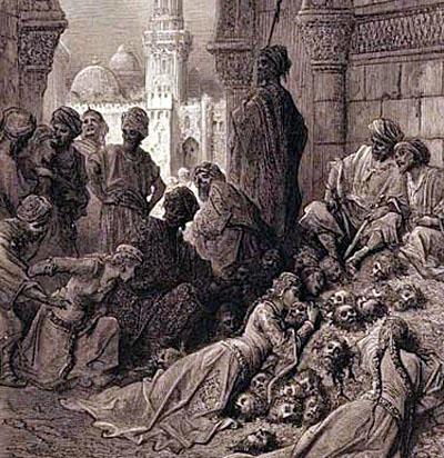 Prorok Mohamed a moslimovia masakrujú Židov kmeňn Banu Kurajza
