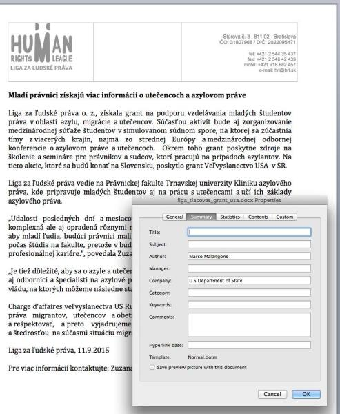 Dokument Ligy za ľudské práva bol vypracovaný americkou ambasádou