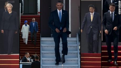 Obama v Hangzhou bez cerveneho koberca