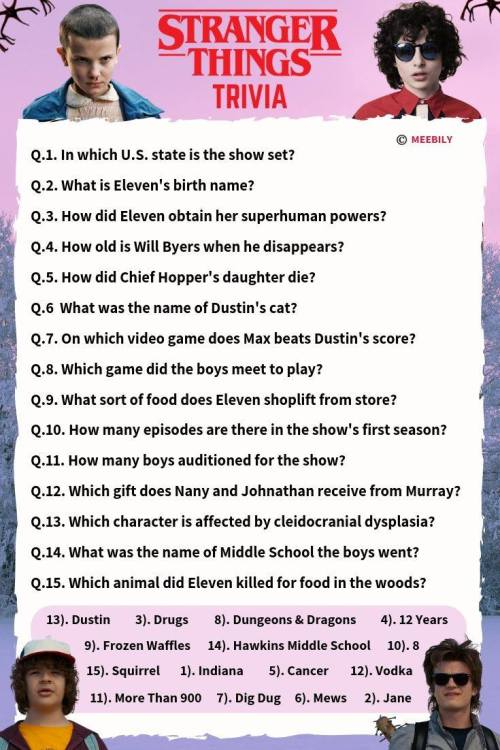 Stranger Things Trivia Worksheet