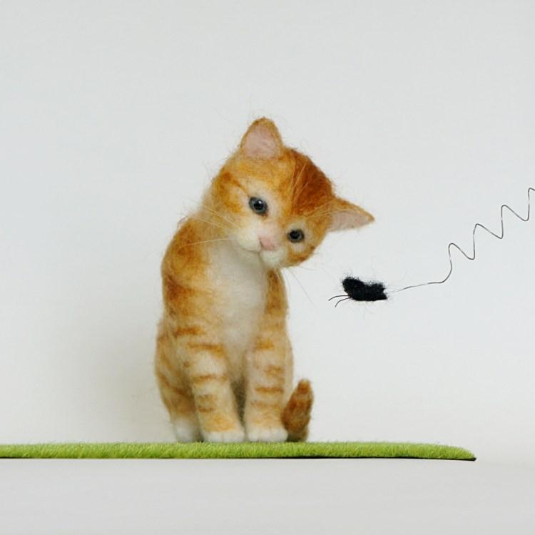 ネコと蝶 羊毛フェルト
