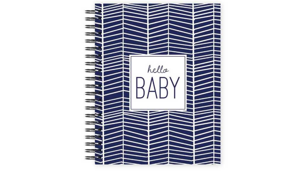 Spiral bound blue and white patterned Hello Baby  LGBTQ+ friendly baby memory book.
