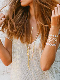 NECKLACE & BRACELETS TEMPORARY BODY METALLIC TATTOO